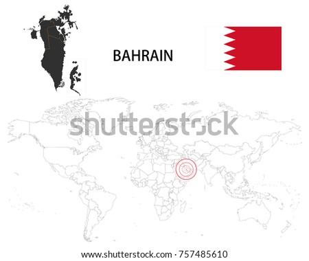 Bahrain On A World Map.Bahrain Map On World Map Flag Stock Vector Royalty Free 757485610