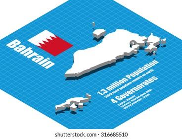 Bahrain map vector three dimensional