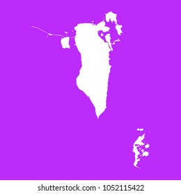 Bahrain map-White map on purple background. Each city and border has separately. Vector illustration eps 10.