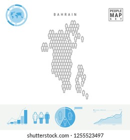 Bahrain People Icon Map. People Crowd in the Shape of a Map of Bahrain. Stylized Silhouette of Bahrain. Population Growth and Aging Infographic Elements. Vector Illustration Isolated on White.