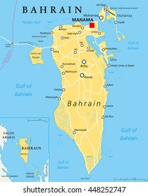 Bahrain political map with capital Manama. Island country, archipelago and kingdom near western shores of Persian Gulf in the Middle East. English labelling. Illustration.