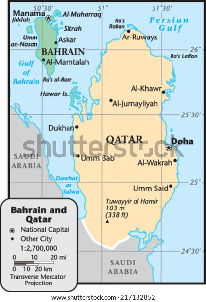 Bahrain Qatar Country Map Stock Vector (Royalty Free) 217132852 on