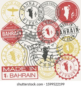Bahrain Set of Stamps. Travel Passport Stamp. Made In Product. Design Seals Old Style Insignia. Icon Clip Art Vector.