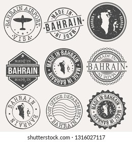 Bahrain Set of Stamps. Travel Stamp. Made In Product. Design Seals Old Style Insignia.