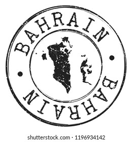 Bahrain Silhouette Map. Postal Passport Stamp Round Vector Icon.