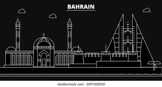 Bahrain silhouette skyline. Bahrain vector city, bahraini linear architecture, buildingline travel illustration, landmarkflat icon, bahraini outline design banner