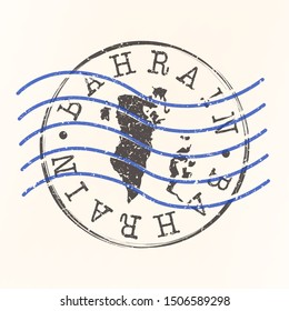 Bahrain Stamp Postal. Map Silhouette Seal. Passport Round Design. Vector Icon. Design Retro Travel.