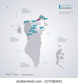 Bahrain vector map with infographic elements, pointer marks. Editable template with regions, cities and capital Manama.