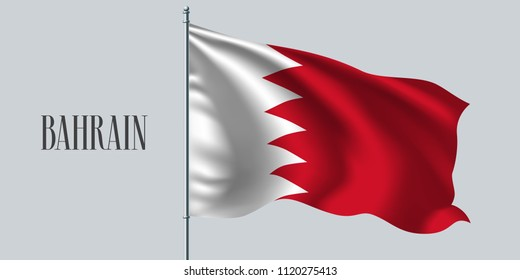 Bahrain waving flag on flagpole vector illustration. White red element of Bahrain wavy realistic flag as a symbol of country