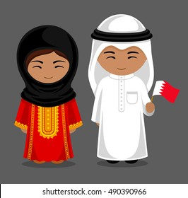 Bahrainis in national dress with a flag. Man and woman in traditional costume. Travel to Bahrain. People. Vector flat illustration.