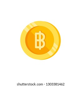 Baht, coin, money color icon. Element of color finance signs. Premium quality graphic design icon. Signs and symbols collection icon for websites, web design