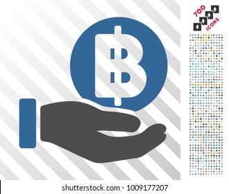 Baht Coin Payment Hand icon with 7 hundred bonus bitcoin mining and blockchain images. Vector illustration style is flat iconic symbols designed for bitcoin apps.