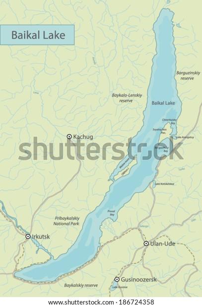 Baikal Lake Map Russia Stock Vector (Royalty Free) 186724358 on slavic russia map, ural mountains russia map, siberia russia map, lake ladoga russia map, volga river russia map, vladivostok russia map, lake balkhash russia map, mt. elbrus russia map, kalmykia russia map, caucasus mountains russia map, pechora river russia map, yamal peninsula russia map, tuva russia map, altai krai russia map, aral sea map, samarkand russia map, india russia map, novgorod russia map, north pole russia map,
