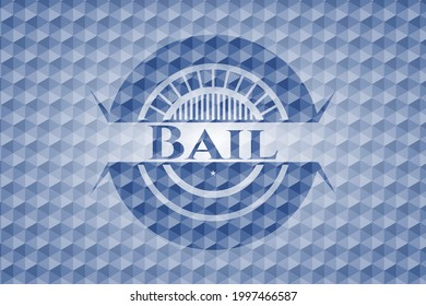 Bail blue emblem or badge with geometric pattern background. Vector Illustration. Detailed.