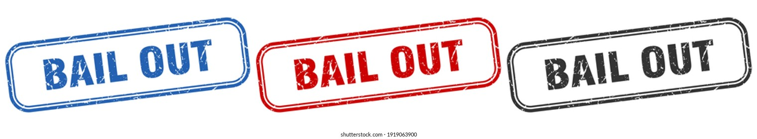 bail out square isolated sign set. bail out stamp