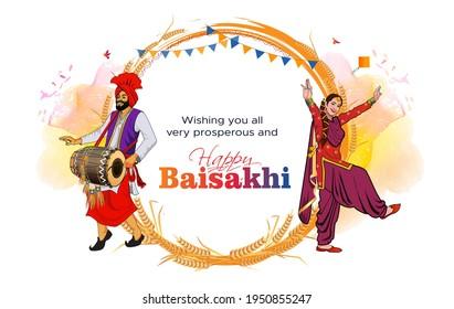Baisakhi. Happy Baisakhi. Vaisakhi festival background and typography