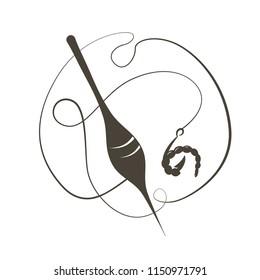 Bait the bloodworms. Fishhook. Vector illustration. Flat logo Fishing float