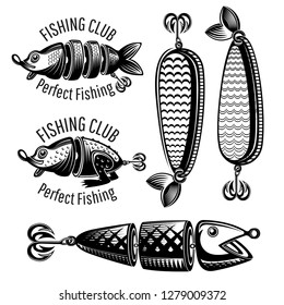 Bait fishes and frog on white in engraving style. Logo for fishing or fishing shop on white