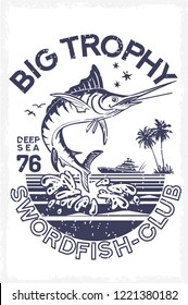 Bait of seafood jumping for catch a big trophy, large ocean swordfish. Animals of atlantic for t shirt or vest. Vector illustration.