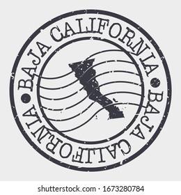 Baja California, Mexico Stamp Postal. A Map Silhouette Seal. Passport Round Design. Vector Icon Design Retro Travel.