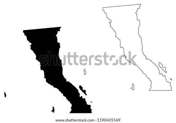 Baja California United Mexican States Mexico Stock Vector ...