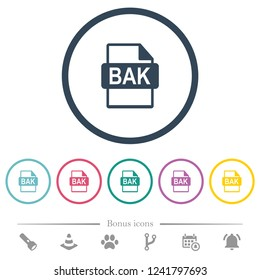 BAK file format flat color icons in round outlines. 6 bonus icons included.