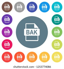 BAK file format flat white icons on round color backgrounds. 17 background color variations are included.