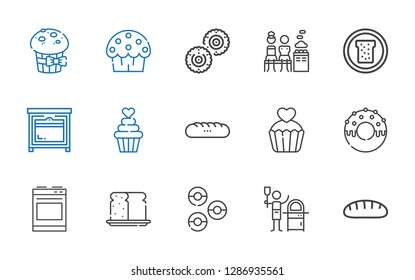 bake icons set. Collection of bake with bread, pizza, donuts, oven, donut, cupcake, baguettes, mixed, biscuit, cup cake, muffin. Editable and scalable bake icons.