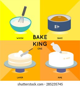BAKE KING ONE baking cake process demonstrates in 4 steps till you get beautiful creamy butter cake.