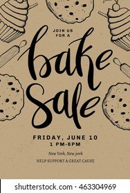 Bake Sale Card Template Design with Hand Drawn Type. Cooking Flyer. Bake flyer.