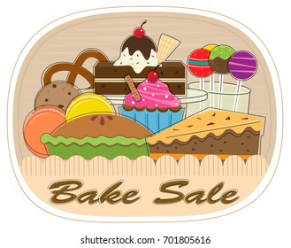 Bake Sale - Clip-art of assorted pastries with bake sale text at the bottom. Eps10