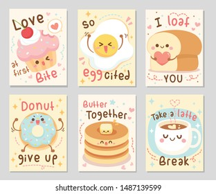 I bake you funny food quotes. Here are bakery full of love and fun. Sayings Love at first bite, I loaf you, donut give up, and more. Set of rectangle gift tag, card, postcard. Vector illustration.