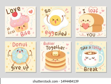 I bake you funny food quotes. Here are bakery full of love and fun. Sayings Love at first bite, I loaf you, donut give up, and more. Set of square gift tag, card, badge. Vector illustration.