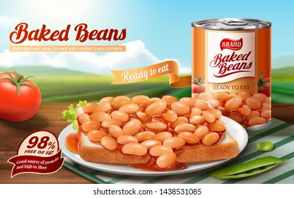 Baked beans ads with delicious beans on toast, bokeh nature background in 3d illustration