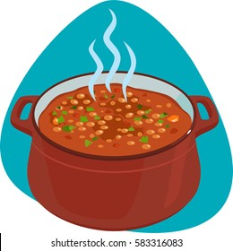 Baked beans in red enameled pot . Isolated. On green background.