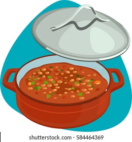 Baked beans in shallow pot with lid. Isolated. On green background.
