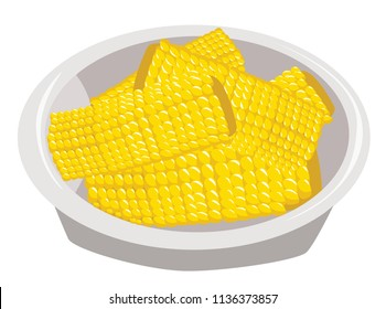 Baked Buttered Corn Cob on White Plate. Corn on the Cob Illustration.