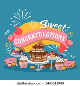 Baked cakes cartoon vector illustration. Poster with fruit, berries and chocolate cakes, cupcakes and poundcakes with Birthdate holiday congratulation banner on blue background.