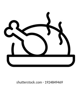 Baked chicken icon. Outline baked chicken vector icon for web design isolated on white background