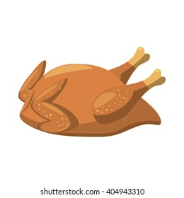 Baked or cooked chicken icon. Cartoon illustration of cooked chicken icon vector isolated on white background