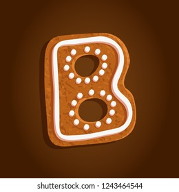 baked gingerbread cookie, alphabet letter B shaped isolated symbol on a brown gradient background, vector illustration