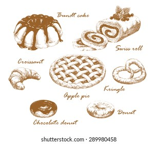 Baked goods. Set of hand-drawn graphic pastries. Roll, bundt cake, donut, croissant and kringle. Retro style. Vector illustration.