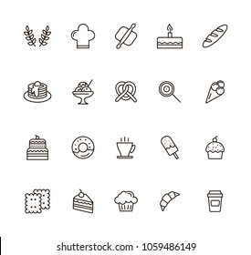 Baked linear icons set. vector illustration. With cupcake, donut, bread, brezel, ice¬-cream and other bakery shop products in thin line style.