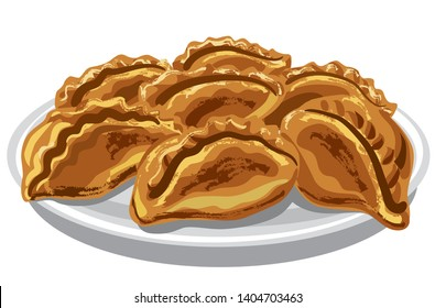 baked pasties on the plate
