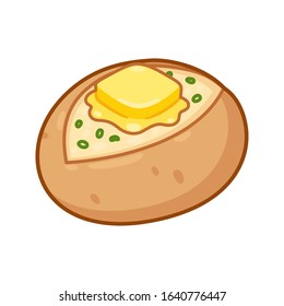 Baked potato with butter and chives. Cartoon drawing of traditional jacket potato with skin on and toppings. Isolated vector clip art illustration.