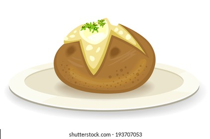 Baked potato with butter on a plate - vector