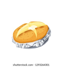 Baked potato in foil. Vector illustration cartoon flat icon isolated on white.