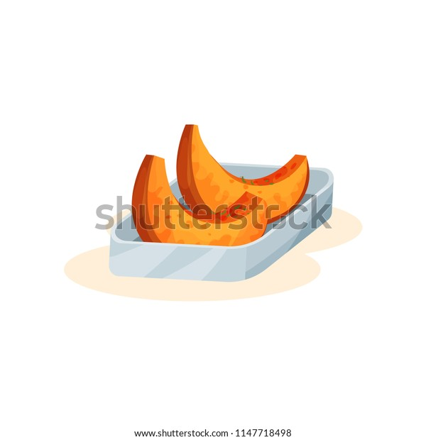 Baked pumpkin pieces, organic healthy autumn food vector Illustration on a white background