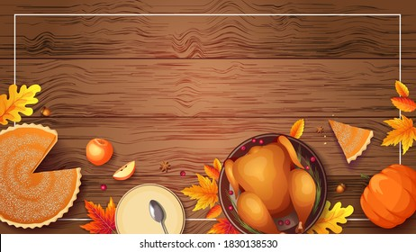 Baked turkey, autumn leaves, pumpkin pie, apples and plates on the wooden background. Thanksgiving Day, festive dinner concept. Vector illustration for postcard, banner, card, poster, background.