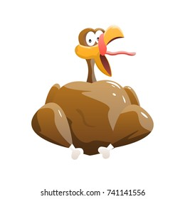 Baked Turkey Isolated on White Background. Comic Vector Illustration of Shocked Live Turkey. Thanksgiving Day.